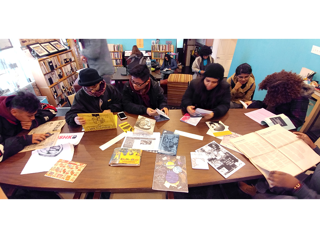 Students from the MCA's Teen Creative Agency share what they've found during a field trip to Read/Write Library