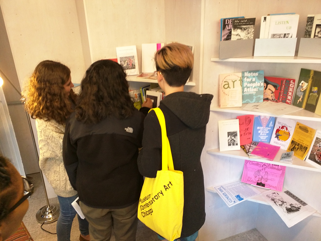 826CHI Students Add their Zines to the Shelves at Rewritable Wicker Park Pop Up Library at Boombox, 2015